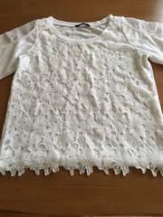 新品同様!!花柄レースが可愛いホワイトTシャツ!