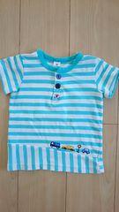 ラキエーベ キムラタン 半袖Tシャツ サイズ95 ボーダー 車刺繍 ブルー×白