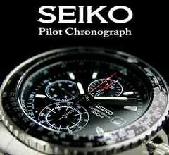 海外限定生産モデル!【SEIKO】 セイコー1/20秒高速パイロットBK