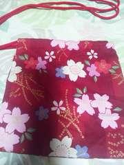 ☆新品赤×桜和柄ナナメ掛巾着袋