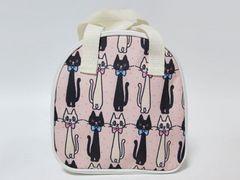定形外込*スイマー*白猫&黒猫イラスト柄ミニバッグ