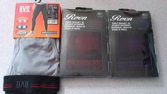 激安67%オフロエン、ボクサーパンツ2枚、10丈タイツ(新品箱、�@紫�A赤、ML)