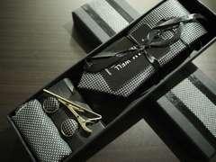 絹 100% デザインネクタイ スマートタイプ4点セット ブラック