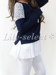 new://春新作◇navy*肩flowerレース×裾シフォン切替tops 0450