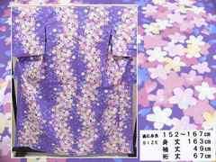 菫色地 桜の花模様 プレタ浴衣 504 未使用品 おまけ付