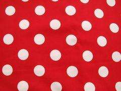 赤地白の水玉50×110☆ミニーマウス水玉