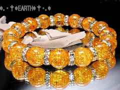天然石★10ミリクラックシトリン水晶&ロンデル数珠