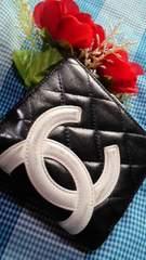 鑑定済人気のブラックCHANELカンボンがま口財布