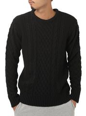 クルーネック セーター メンズ ブラック