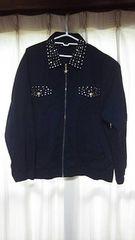 EVR スタッズブルゾンLサイズ黒ブラックジャケットリメイク古着系原宿系個性的服ハデ