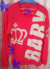 ベビードール 長袖シャツ トップス ピンク 王冠白色 レディース