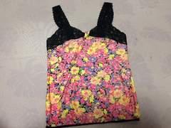 美品花柄キャミソールピンク黒色レースマーガレットデイジー