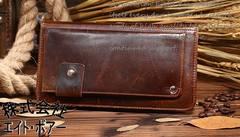 ◆牛本革 オイルド加工ラウンドファスナー 大きめ財布◆b46