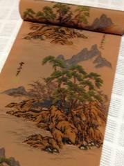 花簪替え袖におしゃれな長襦袢地雪舟山水画・薄茶/220cm