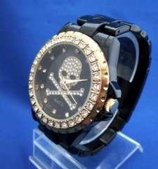 スカルラインストーンメタルウォッチBK/GO−メンズ腕時計