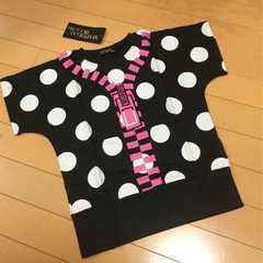 新品◆ドット&ジッパープリント◆半袖Tシャツ◆140