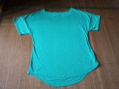 シンプル★無地★ドルマン袖★Tシャツ★半袖ゆるカットソー★エメラルドグリーン★緑