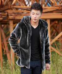 大きいサイズ フェイクファー コート ジャケット XXXL グレー