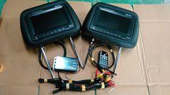 激安ヘッドレストモニター2個セットeononブラックレザータイプ6アウト分配器付送料無料