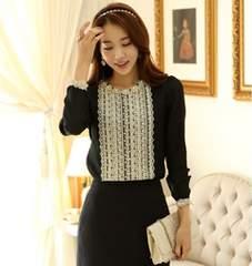 新品大きいサイズ4L17号お嬢様系金糸刺繍ゴシックカットソー黒