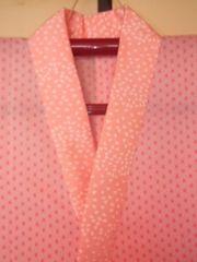 ピンク麻の葉*長襦袢モスリン単チョー美品桜半襟