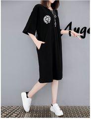 大きいサイズ☆スリット入りロングTシャツ黒5XL