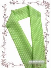 【和の志】カジュアル半襟◇グリーン系・麻の葉柄◇CAH-91