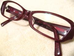 ジョルジオ.アルマーニ.スクエア型パープル系柄入り極上セル眼鏡フレーム現在度入レンズ