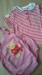 チエコサク中古美品セーラー襟半袖ティシャツとロンパース2点セット80�a