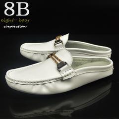 ◆牛本革 スリッパタイプ  スリッポン つっかけ ホワイト◆白k43