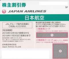 JAL株主優待券2枚売り。期限31年11/30。