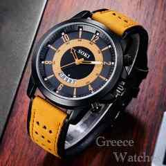 腕時計 ギリシャ文字 ツートン メンズ 時計 レザー キャメル