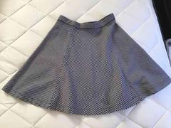 美品★ユニクロ/UNIQLO★ボーダー柄膝丈フレアスカート★Mサイズ