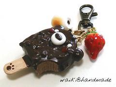 ワイキ@handmadeスイーツアクセ焼きマシュマロ*くまちゃんチョコアイスバー*キーホルダー