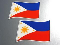 w2 フィリピン国旗ステッカー 2枚set■シール即買☆