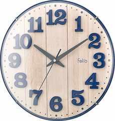 激安商品♪フェリオ 壁掛け時計 アナログ 連続秒針 ブルー