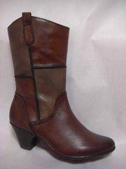 ブラウン・パッチワーク/革 7cmヒール ウエスタン系ブーツ 37