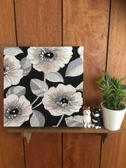 白い花☆木製ファブリックパネル