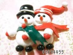 クリスマス<樹脂粘土>仲良し雪ダルマ*デコパーツ