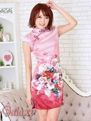 9450★Mサイズ★チャイナ釦付き*優美ピンクグラデーションフラワー柄チャイナミニドレス