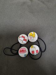 可愛いくるみボタンのヘアゴム4コセット