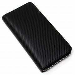 新品 本革 カーボンレザー 長財布 大容量 ブラック 1/B3E