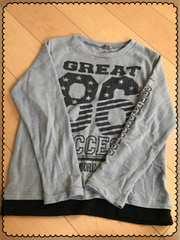 グレー/ロゴ/長袖/薄手/ニット/セーター/160�p