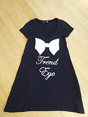 SWORD FISH☆デカリボンTシャツミニワンピ♪ブラック 半袖