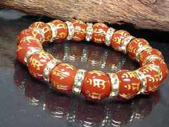 十二支梵字レッドアゲート12ミリ金ロンデル数珠