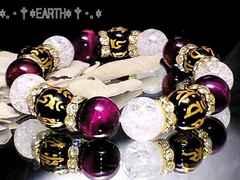 天然石★金彫り守本尊梵字黒瑪瑙ピンクタイガ-アイ・クラック水晶数珠