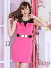 3678★【L.A.ドレス】ゴールドプレートベルト付き*ストレッチミニワンピース*ピンク