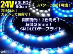 トラック用 極薄SMDLEDテープライト60cm/60LED防水■白⇔青/24V