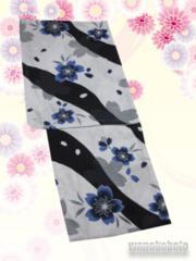 【和の志】女性用綿麻浴衣◇Fサイズ◇グレー系・桜柄◇MAF-61