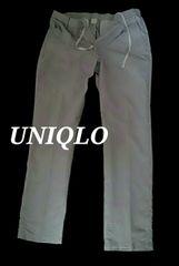 【UNIQLO】ワンタック ドライコットンテーパードイージーパンツ M/L.Gray